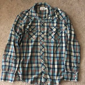 True Religion Long Sleeve Button Down Flannel
